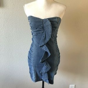 Bebe 2B Denim Chambray Strapless Bodycon Dress